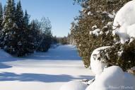 En hiver elle coule sous la couche de glace et de neige