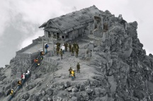 temple-couvert-de-cendres-apres-une-eruption-volcanique-au-japon