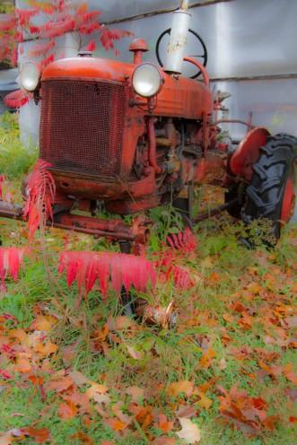 J'ai trouvé du rouge avec ce vieux tracteur..